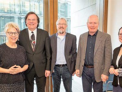 Birke Bull-Bischoff (Die Linke), Thiemo Fojkar, Lutz Kaube und Walter Würfel (BBB), Silke Michels (Büro MdB)