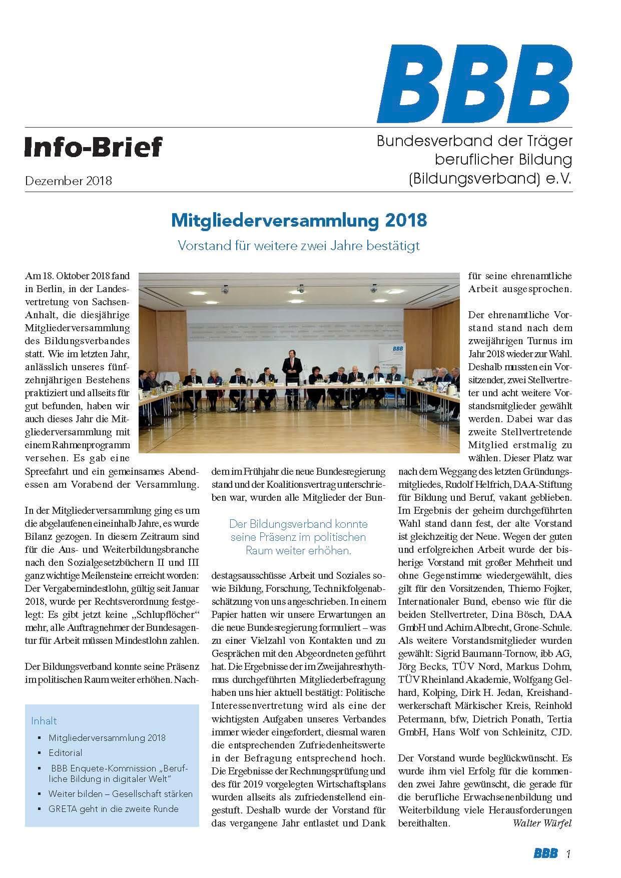 BBB-Info-Brief Dezember 2018 Titel