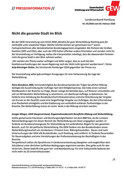 Presseinformation der GEW vom 04.02.2020