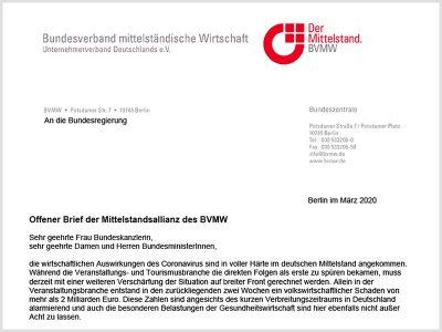 Brief der Mittelstandsallianz an die Bundesregierung